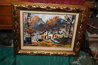 Original Morris Katz Oil Painting-Mountains Houses Trees-Signed-Wood Frame