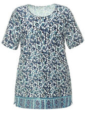 Ulla Popken tunic top plus size 24/26 blue white floral border print cotton knit