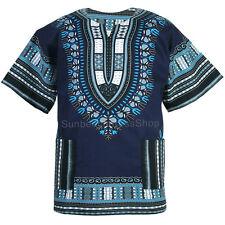 Cotton African Dashiki Mexican Poncho Hippie Tribal Boho Shirt Navy Blue ad19n