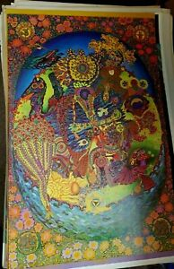 PIPE DREAMS EAST TOTEM WEST 1968 VINTAGE PSYCHEDELIC BLACKLIGHT POSTER By McHugh