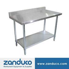 "Zanduco Stainless Steel 24"" X 48"" Standard Worktable with 4-inch Backsplash NSF"