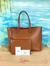 $1290 CHRISTIAN LOUBOUTIN Cabata Brown Leather East West Tote Bag Spikes EUC