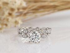 2.00 Ct Estate Round  Diamond Cluster Engagement Ring Set 14K White Gold Finish
