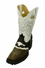 MEN'S GENUINE LEATHER WESTERN SQUARE TOE  RODEO COWBOY BOOTS #457