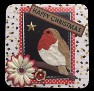 """1 Hand Made CHRISTMAS Robin Topper For Card Making Scrapbooking 10.5cm 4"""" (B207)"""