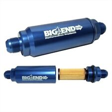 Big End Performance 12810 Billet In Line Race Fuel Filter 8an 10 Micron Blue