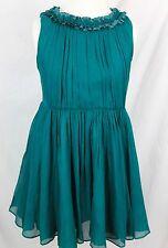 JCrew Crewcuts $228 Girls Pleated Ruffle Dress Crinkle Chiffon 6 Bluegrass B5082