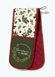 Red Holly Christmas Oven Gloves (90cm x 18cm) Cooking Kitchen