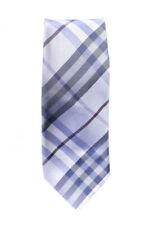 Burberry Mens Silk Check Printed Neck Tie Purple Silver