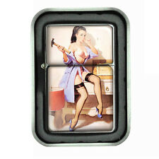 Oil Lighter with Tin Box Pin Up Girl Design 20 Vintage Sexy Lady with a Hammer
