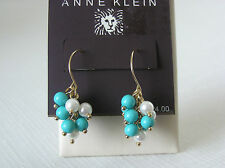 Anne Klein Gold Tone Turquoise/White Pearl Cluster Drop Earrings