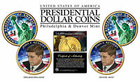 Colorized 2-sided JOHN KENNEDY 2015 Presidential Dollar 2-Coin Set BOTH P&D MINT