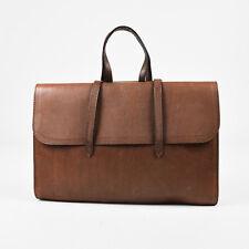 Bottega Veneta Brown Textured Leather Front Flap Gold Tone Bar Briefcase Bag
