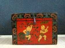 Antik Truhe mit Bemalung Mongolei Asiatika Möbel - hh0m70