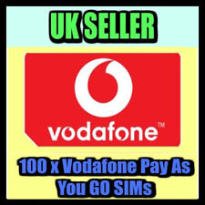 100 x Vodafone Pay As You Go 4G Sim Cards UK Bulk Wholesale Joblot