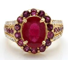 4.18 Carat Natural Red Ruby & Diamonds in 14K Solid Yellow Gold Women Ring