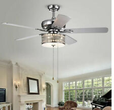 Davrin 5-Blade 52 in. Chrome Lighted Ceiling Fans with 3-Light Crystal Drum Lamp