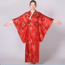 Red Chinese traditional Women's silk Kimono Robe Gown With obi