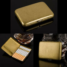 16 Cigarettes Vintage Brass Pocket Men Cigarette Tobacco Case Box Storage Holds