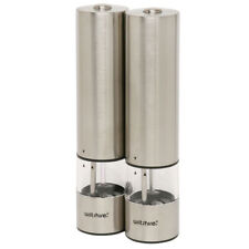 Wiltshire Stainless Steel Salt & Pepper Electric Grinder Mill Set 22cm