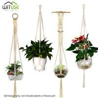 rural pure cotton rope flower pot hanger plant basket holder garden hanging pots