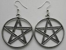 Earrings #341 Pewter Pentagram in circle (large 40mm)