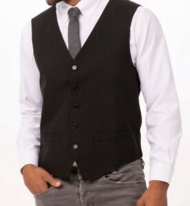 NEW Men's Essential Vest BLACK CLASSIC FIT HOSPITALITY RESTAURANT WAITER SERVER