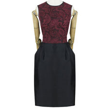Jason Wu Black Claret Lace Leather Edged Silk Bubble Dress US6 UK10