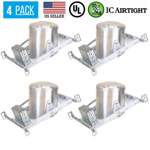 4 PACK 6-INCH NEW CONSTRUCTION SLOPE CAN AIR TIGHT HOUSING RECESSED LED LIGHT