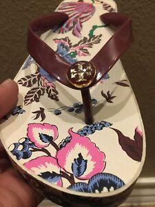 Women's Size 9 TORY BURCH Multi-Floral EVA SOLE Wedge Flip Flop Sandals Euc