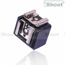 Dual-Hot Shoe Mount Adapter Flash Trigger wt 3.5mm SYNC Port for Canon Speedlite