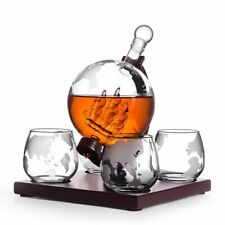 Whiskey Decanter Vodka Antique 4 Glasses Liquor Dispenser Bourbon Globe Decanter