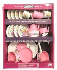 Barbie Party Dish Set, Pink 33-Piece Tea Party Picnic, NEW IN PLASTIC 1983