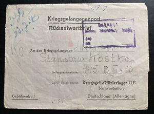 1943 Karthaus GG Poland to Germany Oflag 2E POW Prisoner of War Letter Cover