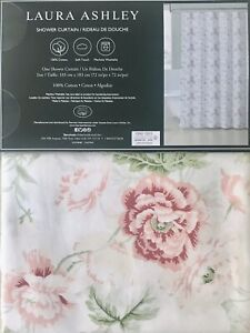 LAURA ASHLEY - Shower Curtain 100% Cotton - Pink Floral Cottage Shabby Chic