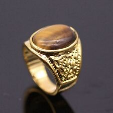 Tigers Eye Stone Large Ring For Women/Men 24K Gold Plated Fashion Ring Size 10