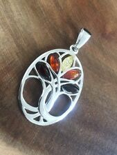 925 Sterling Silver Amber Tree of Life Necklace Pendant
