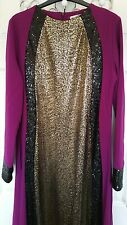 Muslim Evening Dress Purple and Gold Black Sequined