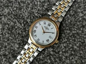 Rotary Mens Two Tone Bracelet Dress Watch Date Round White Face Stainless Steel