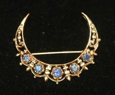 Victorian 14K Yellow Gold with 5 Sapphires Crescent Moon Brooch Pin 5.1g