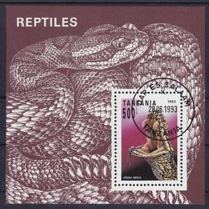 Tanzania Serpientes Serpiente 1993 Bloque 220 , Reptiles, Gest Serpiente, Used