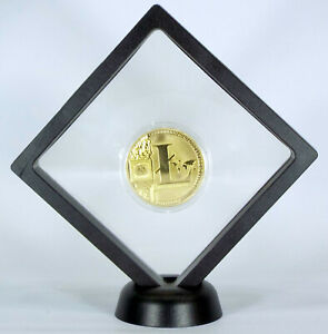 ✅ LITECOIN GOLD FLOATING COIN DISPLAY - COLLECTOR COMMEMORATIVE ROUND GREAT GIFT