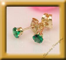 375 Gold Ohrstecker Brillant Fassung 2,75 mm 1 Paar Grade A Smaragd
