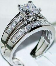 Wedding Bridal Band Set 14k White Gold 2 Ct Princess cut Engagement Ring 2 Piece