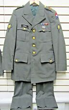 US Army Dress Green Poly/Wool Uniform Coat & Pants w/Patches Pins Ribbons