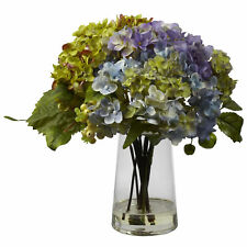 Hydrangea w/ Glass Vase Arrangement