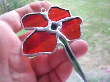 Stained glass red poppy, handmade, suncatcher / window decoration