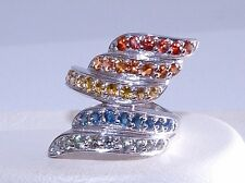 GENUINE 1.16ct! Fancy African Sapphire Rainbow Wrap Ring Solid S/Silver 925