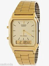 Casio AQ230GA-9D Mens Casual Classic Analog Digital Gold Watch Alarm Stopwatch