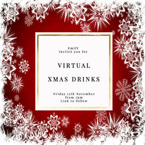 DIGITAL VIRTUAL FILE INVITE FOR ZOOM CHRISTMAS PARTY,DRINKS,RED SNOWFLAKE